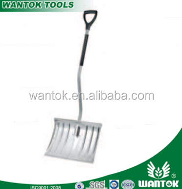 popular sell aluminium alloy material snow shovel & snow spade square flat head with S bend type powder coated long steel handle