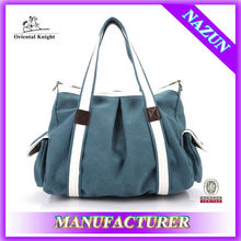 wholesale unisex street style blue trendy canvas bag with stock price