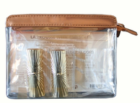 Fashion clear PVC plastic cosmetic makeup bag with PU trim