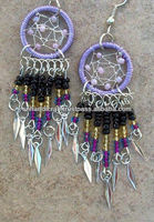 Beaded Dream catcher earrings in purple lilac & silver with black accents