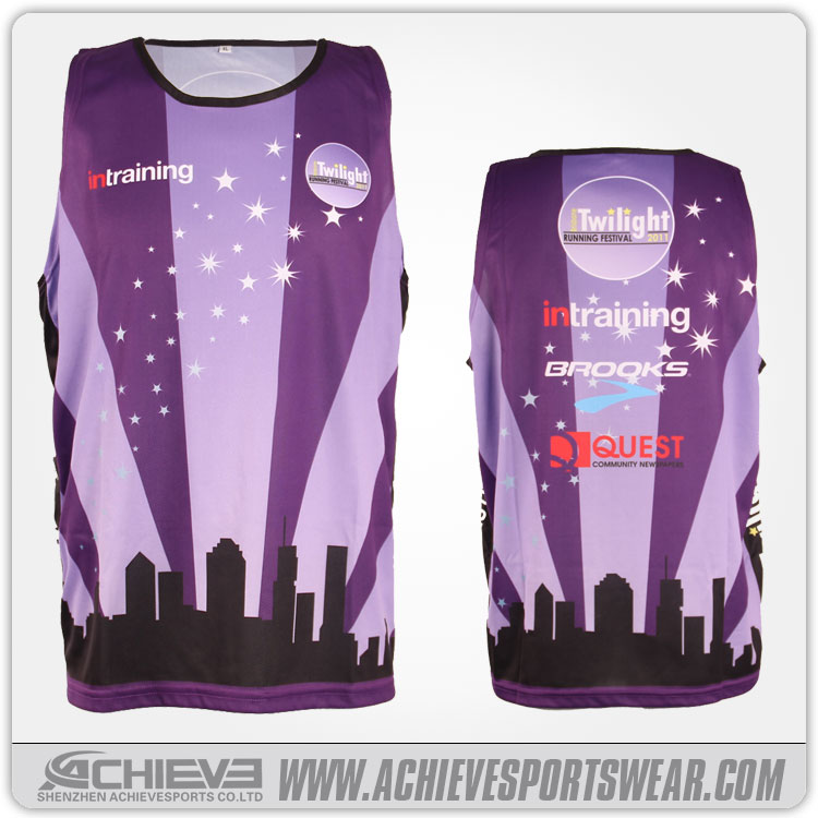 2017 Hot sale custom sublimation tops for runners