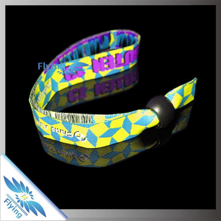 diy slogan high quality woven bracelet with plasitc lock