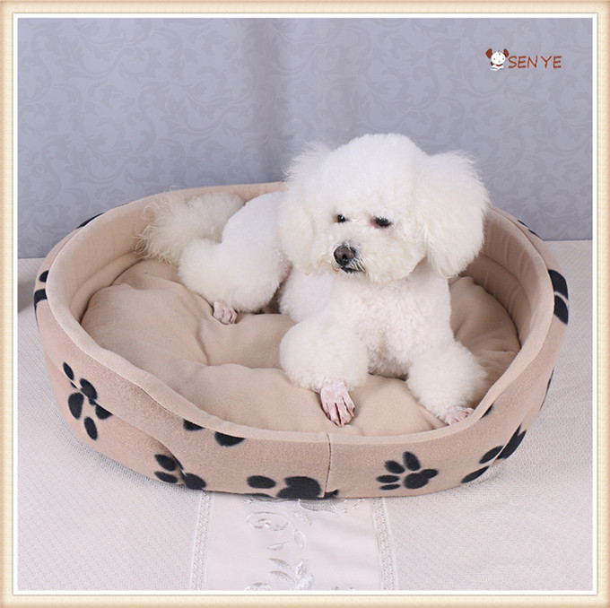 Simple Footprint Large Pet Cushion Dog Bed Inflatable Round Plush Dog Bed