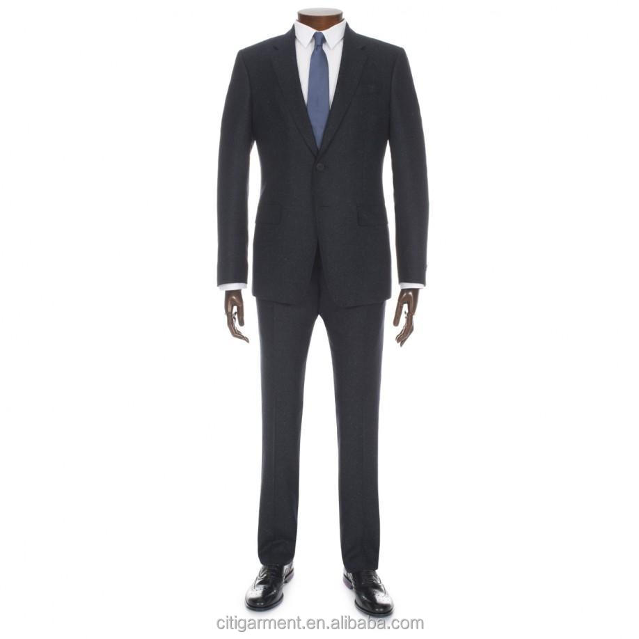 Mens Navy Herringbone Wool and Silk-Blend Suit