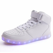 high-top and light-emitting shoes authentic adult men and women with 7colors luminous shoes