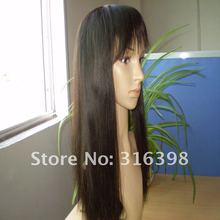 Top Quality Silk Straight Brazilian Virgin Human Hair Lace Front Wigs With Bangs
