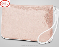Pink Spangle make up bags with nylon zipper ladies travel pu cosmetic bag