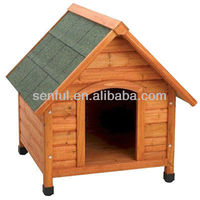 Peaked roof wood dog kennel
