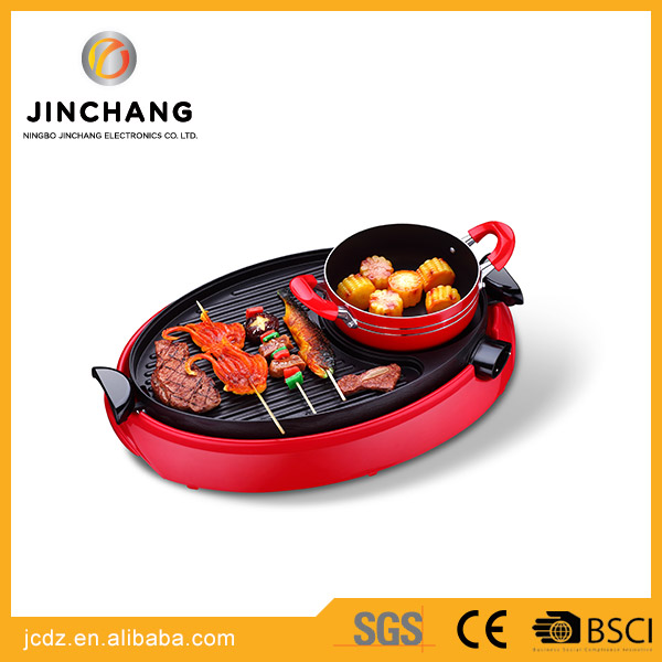 wholesale mini Multifunction Electric BBQ Grill with hotpot