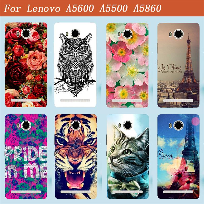 For Lenovo A5600 A5500 Case Cover Luxury Diy UV Painting Colored Case For Lenovo Golden Warrior S8 Play A 5600 A 5860 Phone Bags