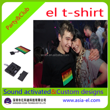 Cool design el sound activated t shirt/custom el t shirt/sound sensor light for t shirt