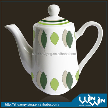 Porcelain tea pot round shape in red color design