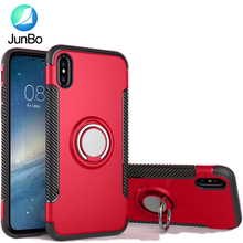 carbon fiber TPU PC combo hybird phone case ring for iphone 8