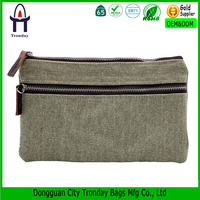 High quality cotton canvas pencil case with 2 zipper compartment