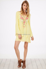 long sleeve chiffon new style dress fashion embroidery woman mini dresses
