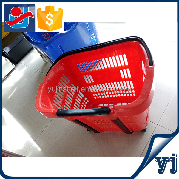 Plastic shopping cart/Go cart wheeled basket/Shopping basket for supermarket