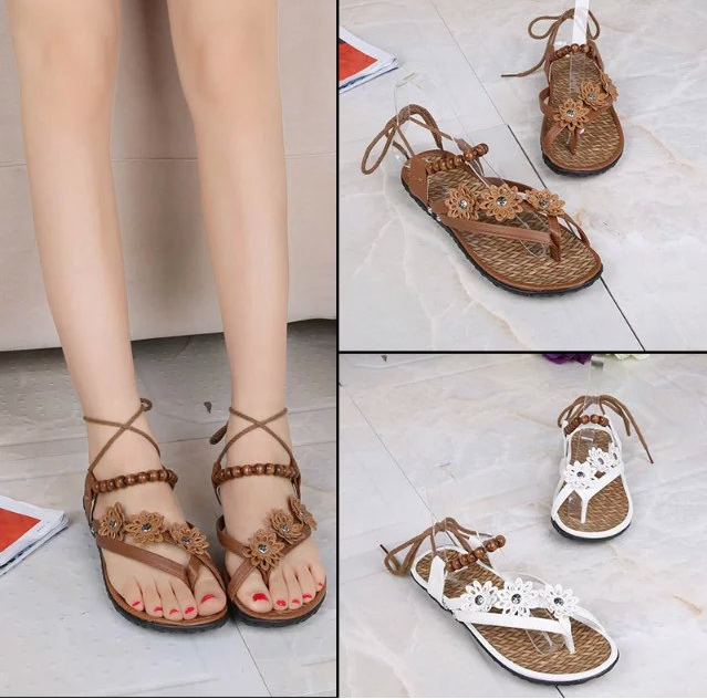 W72171G 2016 new design woman sandals flat flowers beach beaded ladies fancy sandal flip flops