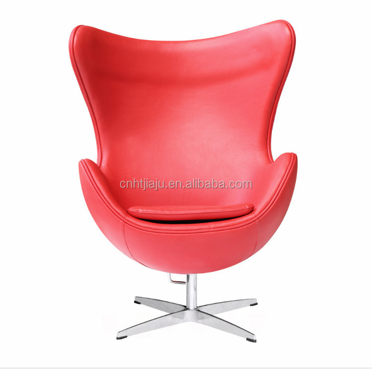 High Quality Midcentury Red Leather Egg Chair/ Living Room Armchair