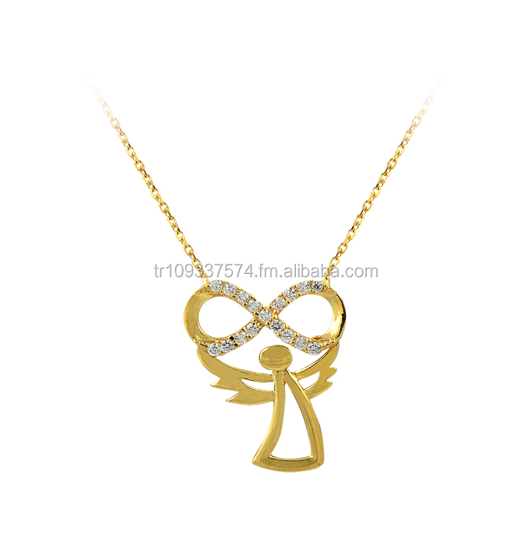 14K Solid Gold Newest Model Original Infinity Angel Charm Pendant Necklace