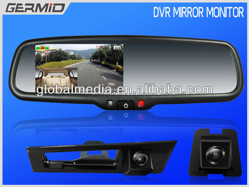 4.3inch dvr rearview mirror auto dimming special for PEUGEOT 407/408/307(HATCHBACK)/308CC/307CC
