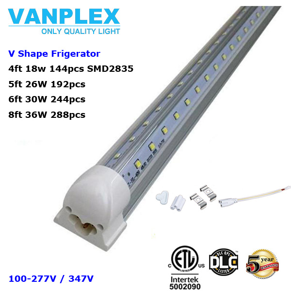 T8 Integrated Led V shaped Tube 4ft 5ft 6ft 8ft SMD 2835 led fluorescent Lighting led tube lamp