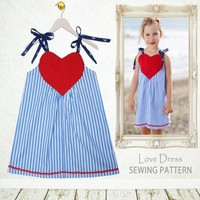 2015 Wholesale Baby Girls Dress Cute Red Love Dress With Shoulder-Straps For Summer