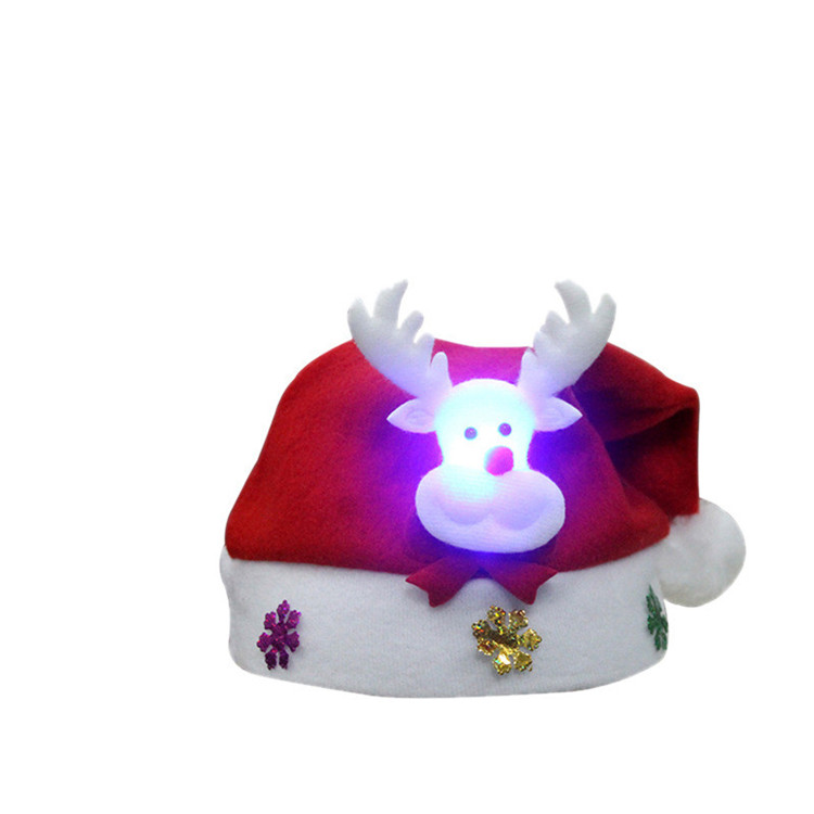 2017 newest christmas decoration battery operated nonwoven mini santa hat