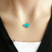 Turquoise Cross Gold plated sideways pendant Necklace