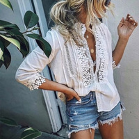 2019 Women's Lace Ruffled Blouse Top Plus Size 5XL 3/4 Sleeve Patchwork Womens Blouses 2019 Spring Shirts Coldker