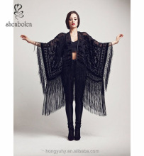 M40780 Velvet Fringes Kimono - Classic Peacock sexy black womens kimono cardigan jacket from clothing factory