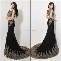 New Arrive Elegant Quality Made Applique Lace Evening Dress Scoop Neck Sheer Back Mermaid Black Long Gown