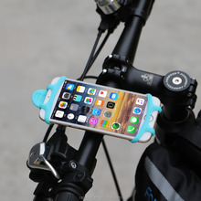 Flexible Cell Phone Bicycle Silicone Universal Soft Rubber Holder for 4-5.5inch Mobile Phones