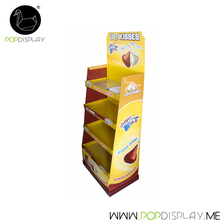 OEM Customized Corrugated Unit Free Standing Supermarket Shelf Cardboard Display Stand For Chocolate