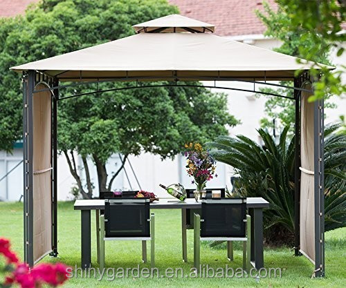 10x10 ft Patio Gazebo Canopy with 2 Privacy Panels Outdoor Steel Backyard Shade