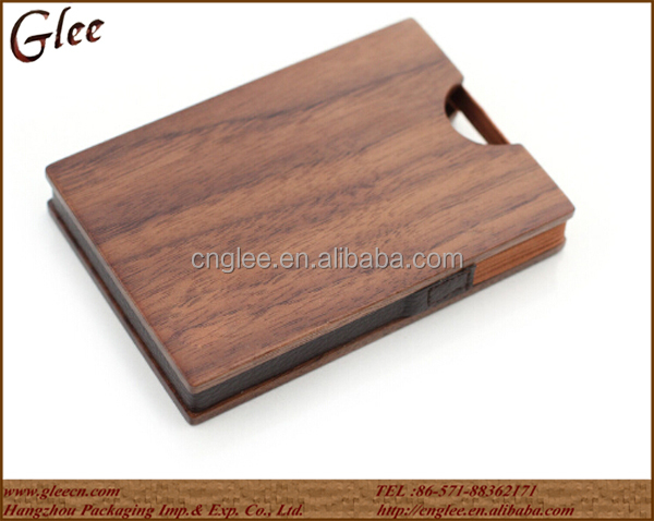 special design unique wooden material card fancy wallet for packaging