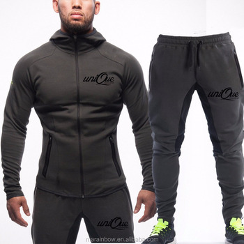 Wholesale Mens Tracksuit Set Muscle Bodybuilding Full zip Hoodie Tapered Jogger Pants OEM Gym Fitted Fleece Hoodie Top Bottoms