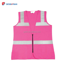 Super Nice Ladies Fitted Pink Safety Vests with Silver High Visibility Reflective Stripe and Zipper Closure Vest