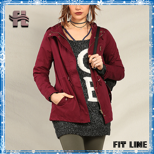 Top quality ladies twill hooded jackets fashion new design cotton canvas adjustive jackets women outdoor new design coat