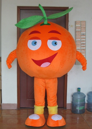 with cool fans adult fruit mascot costumes orange mango apple banana strawberry