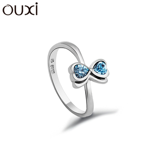 OUXI fashion 925 sterling silver ring with blue stone y70017