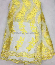 YELLOW China factory swiss voile net lace with stones tulle lace embroidered fabric for garment accessories TL1121