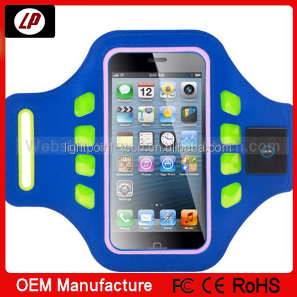 Elastic sport cell phone led plastic arm bands for iPhone 5s 5c