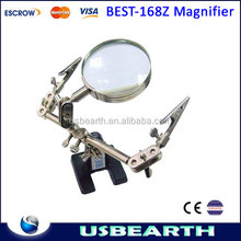 Original BEST-168Z Desktop magnifying glass / lens magnifier with clip for cell phone SMD repair soldering tool