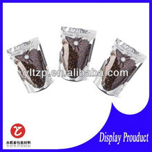 2012 fashion design ecological food paper metallized coffee packaging bags with tear nitch