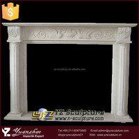 indoor used hand carved white marble fireplace mantel