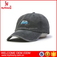 Embroidered Plain Washed Cotton Twill Baseball Cap with Adjustable Velcro
