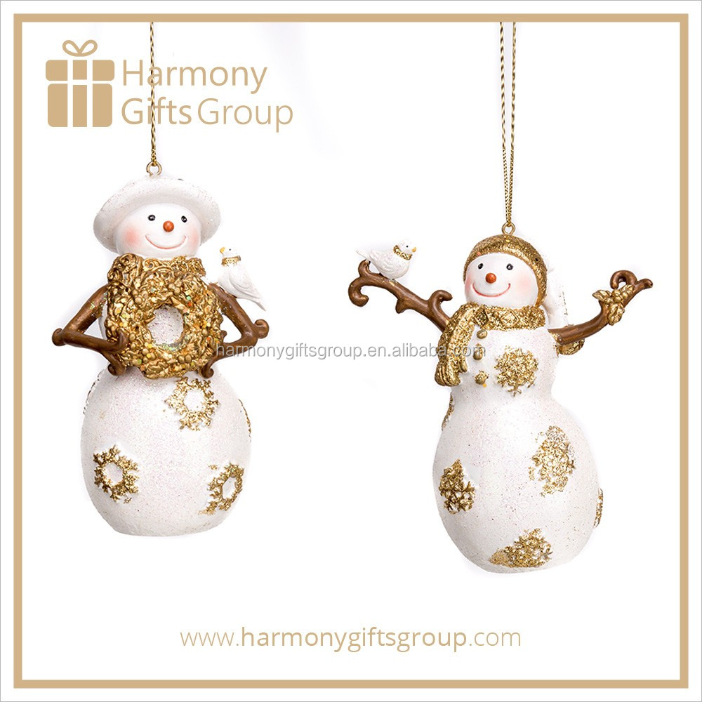 White Gold Christmas Snowman Decoration