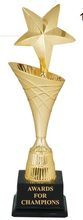 Metal cup award plastic trophy with plastic base