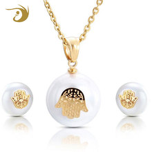 Cute Small Size Round Stainless Steel Artificial Pearl Necklace Set, Pearl Jewelry Set