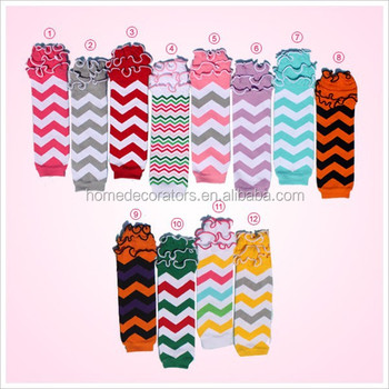 Baby Leggings Kids Leg Warmers chevron Pattern and ruffle